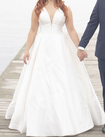 Suknia ślubna bez koronek, bez tiulu
