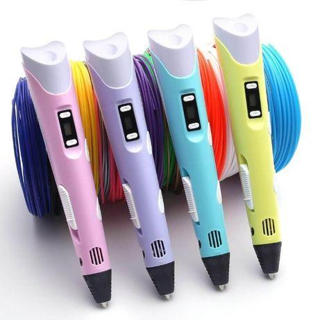 3д ручка PEN3 для детей, пластик 3м, трафареты 3шт + наклейки 3 кота