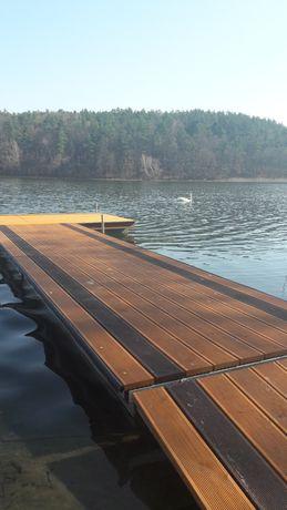 Domek całoroczny z kominkiem nad jeziorem, pomost, łódki, kajaki