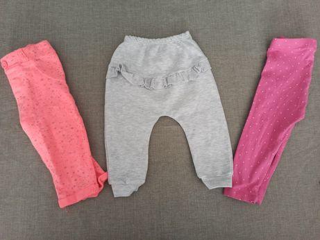 Spodnie / legginsy 74 / 3sztuki