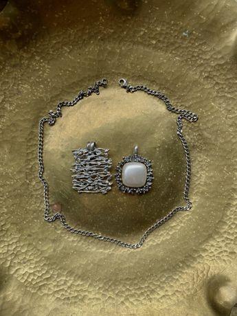 Zestaw biżuterii srebrnej łańcuszek zawieszka srebro perła 925