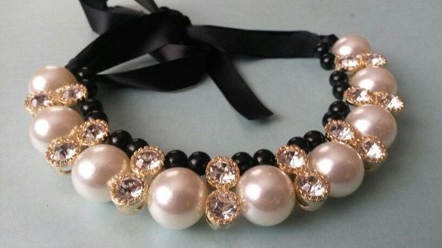 ZARA naszyjnik perły kolia bardzo elegancki