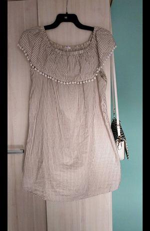 Beżowo-biała sukienka