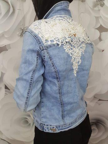 Katana jeansowa gipiura perełki M-XL