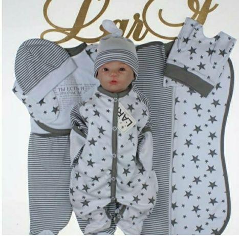 комплект для новорожденого, комбинезон, пеленка кокон, слип