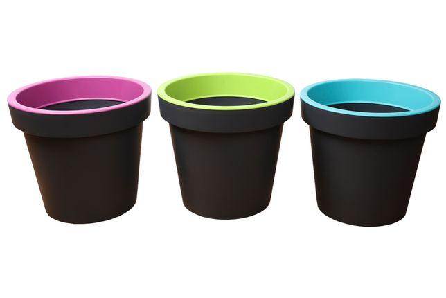 Donica okrągła XL zestaw 3 kolory plastikowa doniczka szara WYSYŁKA!