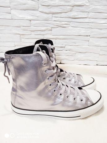 Buty Converse  7 rozmiar 40 srebrne długi za kostkę