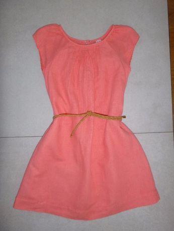Letnia lniana sukienka ZARA 128 cm
