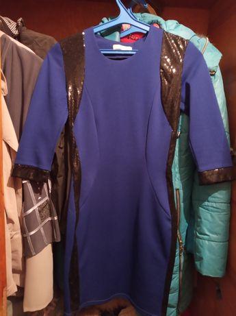 Плаття синє з паєтками