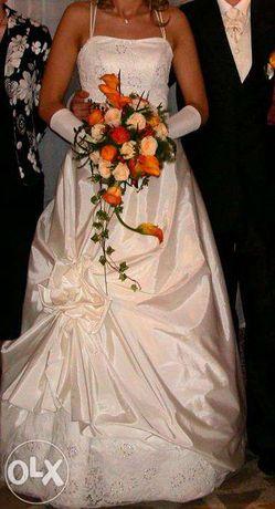Suknia ślubna sukienka ślub wesele r.38/40 kolor Ecru stan BDB GRATISY