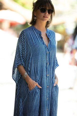 Туника пляжная полосатая синяя большой размер