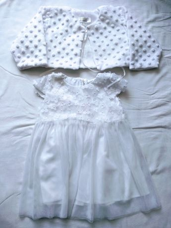 Sukienka + bolerko na chrzest 74 stan idealny