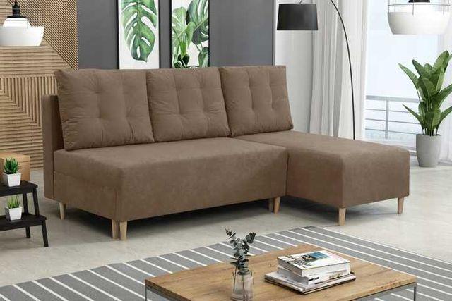 narożnik sofa kanapa brązowa karmel 199 cm
