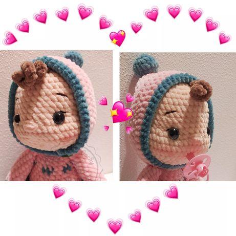 Lalka bobas maskotka zabawka niemowle handmade szydełko amigurmi
