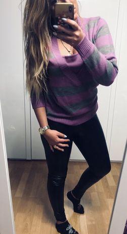 Fioletowo-szary sweterek paski L