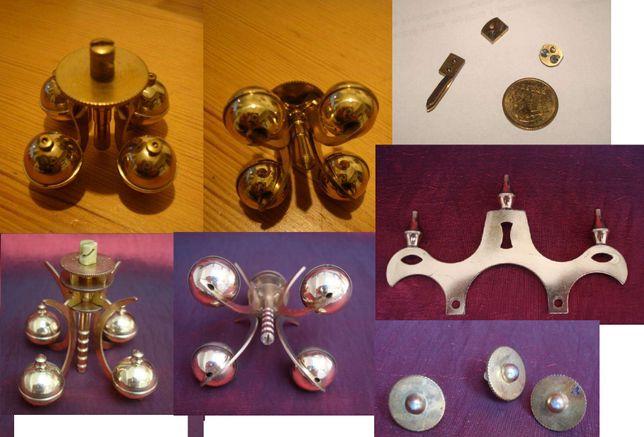 Zegar roczny części: wahadło, koronka, koła zębate, zawieszki, nóżki