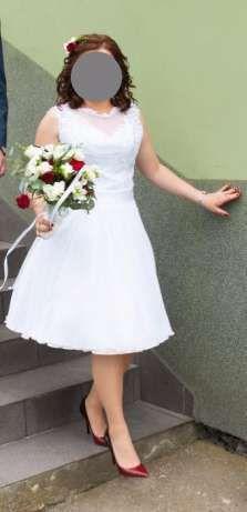 Krótka sukienka ślubna biała (koronka - gipiura i muślin)