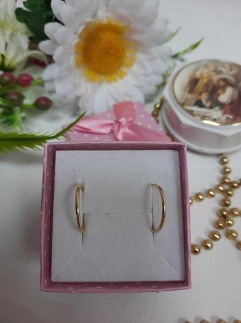 Delikatne złote kolczyki kółeczka złoto 585