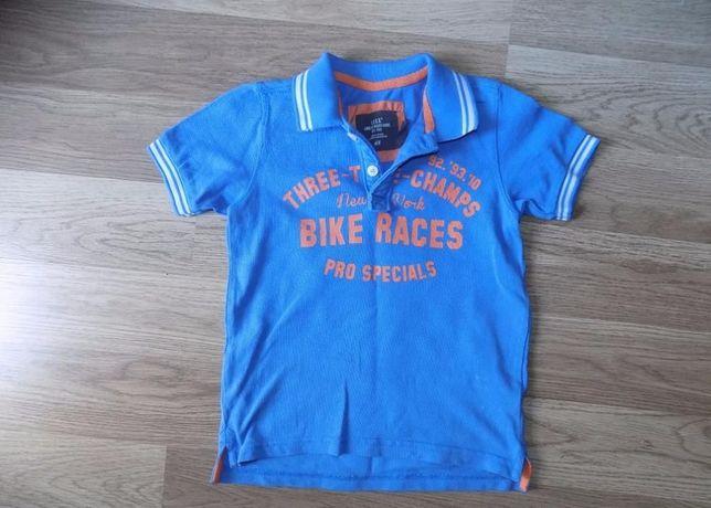T-shirt polo H&M 98/104 2-4 lat jak nowa niebieska z kolnierzykiem