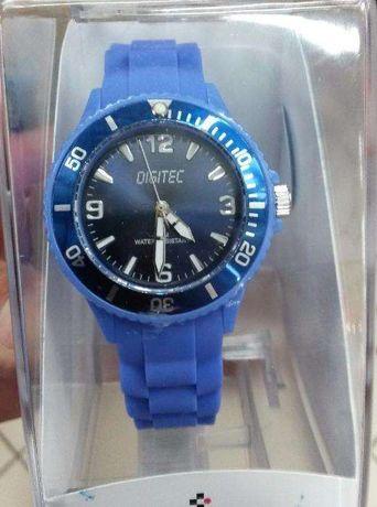 Relogio quartzo silicone azul novo entrega imediata