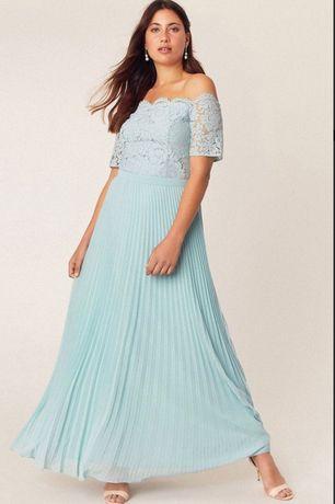 Плаття OASIS Pale Green Lace Bardot Maxi Dress