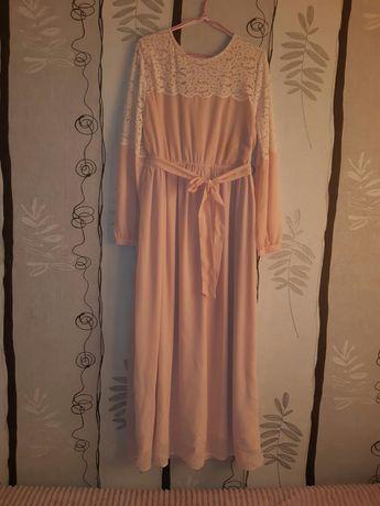 Нарядное,нежное платье в пол,пудра, размер 42-46