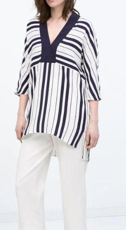 NOWA Zara Women elegancka tunika w paski wiosna lato hit M/38 wiskoza
