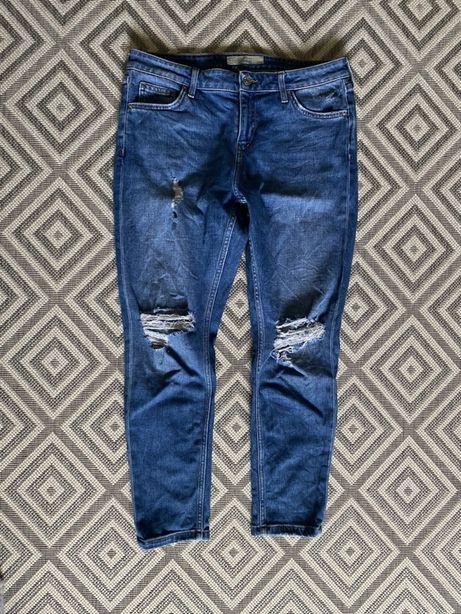 Niebieskie  jeansy dziury boyfriend Luke Topshop 40 L w30l30