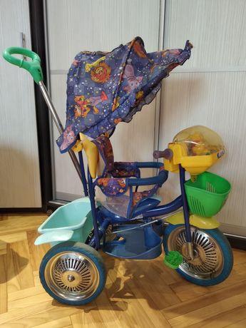Детский трёхколёсный велосипед (музык-ный) с родительской ручкой Винни