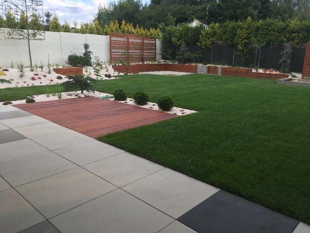 Projekty ogrodów,zakładanie usługi ogrodnicze kostka brukowa granitowa