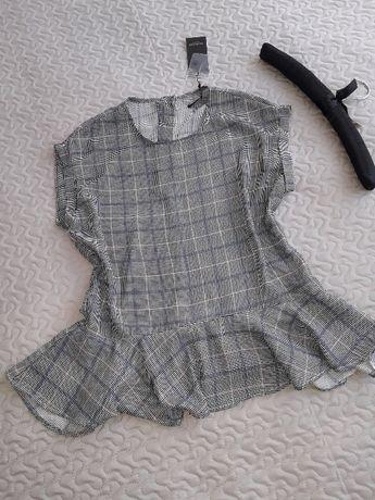 Bluzka Reserved z baskinką r.36 kratka
