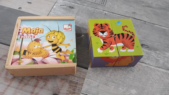Puzzle drewniane płaskie Pszczółka Maja oraz puzz kostka Viga