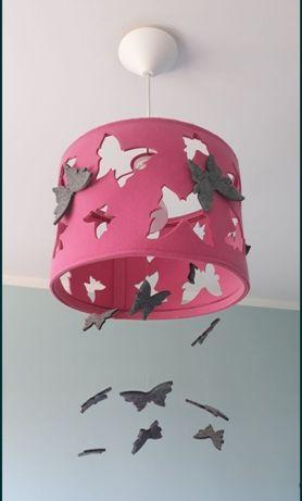 Różowa lampa wisząca motyle dla dziewczynki