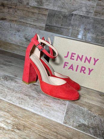 Czerwone zamszowe czółenka na słupku Jenny Fairy