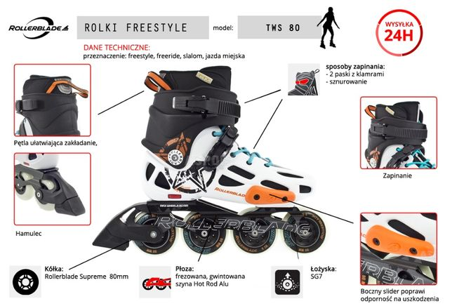Rolki ROLLERBLADE Freestyle model TWS 80 roz. 45