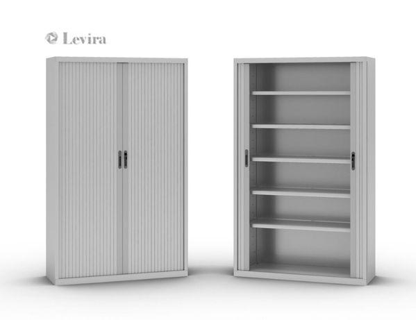 Armário Alto c/Estantes, Portas Persiana (Branco) 198x120x45 cm - NOVO