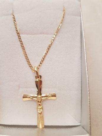 Piękny łańcuszek pancerka pełna 50cm +Krzyżyk, pr.333. Komunia,Chrzest