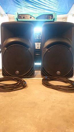 2x Kolumna Mackie c300z + Ads PA-600 + kable + stojaki