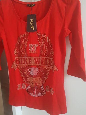 śliczna bluzka cyrkonie orzeł bike czerwona nowa z metką la pia okazja
