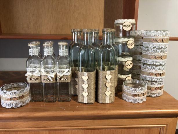 Słoiczki, słoiki i butelki w stylu rustykalnym/ dekoracje rustykalne