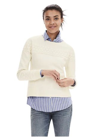 """Пуловер с кружевной отделкой белый новый """"Banana Republic"""" размер М/M"""