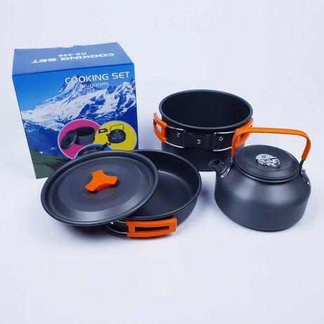 Набор туристической посуды с чайником из алюминия (казанки) DS-201