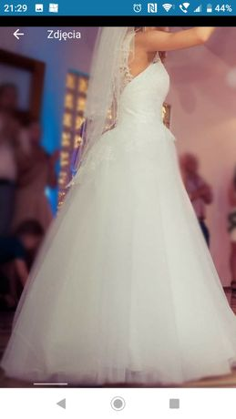 Duber rozm.36 piekna suknia ślubna bardzo tanio z baskinka