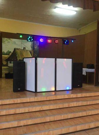 Kompletny zestaw DJ, Kolumny, nagłośnienie STX , mixer, oświetlenie