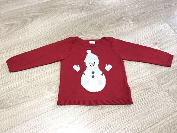 Фирменный новогодний зимний свитер h&m