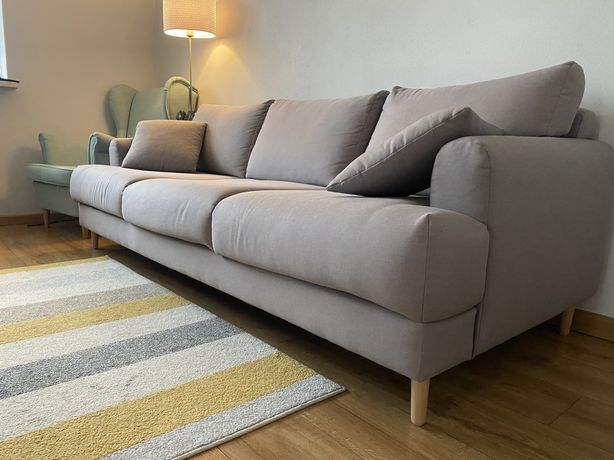 Nowoczesna Używana Sofa 3-osobowa  szara jak nowa