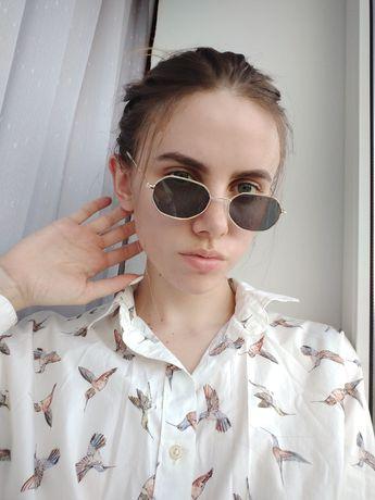 Солнцезащитные ретро очки с золотой оправой