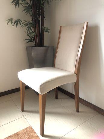 Cadeira de jantar em cerejeira e tecido