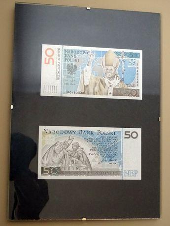2 banknoty kolekcjonerskie 50 zł JP II w ramce