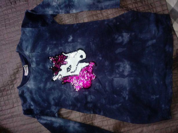 Tunika z jednorozcem dwustronne cekiny dla dziewczynki na ok 9-10lat